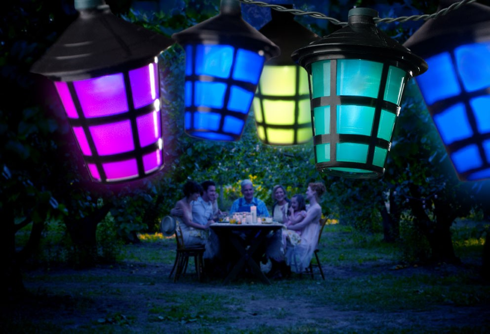 lichterkette led 20 bunte lampion au en schwarzes kabel bei. Black Bedroom Furniture Sets. Home Design Ideas