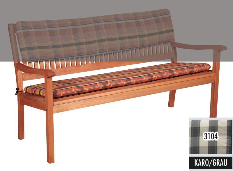 auflage f r gartenbank 3 sitzer 110x45cm d 3104 karo grau. Black Bedroom Furniture Sets. Home Design Ideas