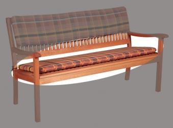 Doppler Auflage für Gartenbank 3-Sitzer 150x45cm Des. 24 Karo terra