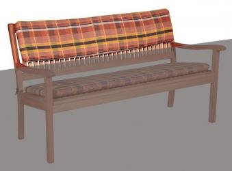 Doppler Rückenpolster 3-Sitzer Gartenbank 150x30cm Des 24 Karo terra Bild 1