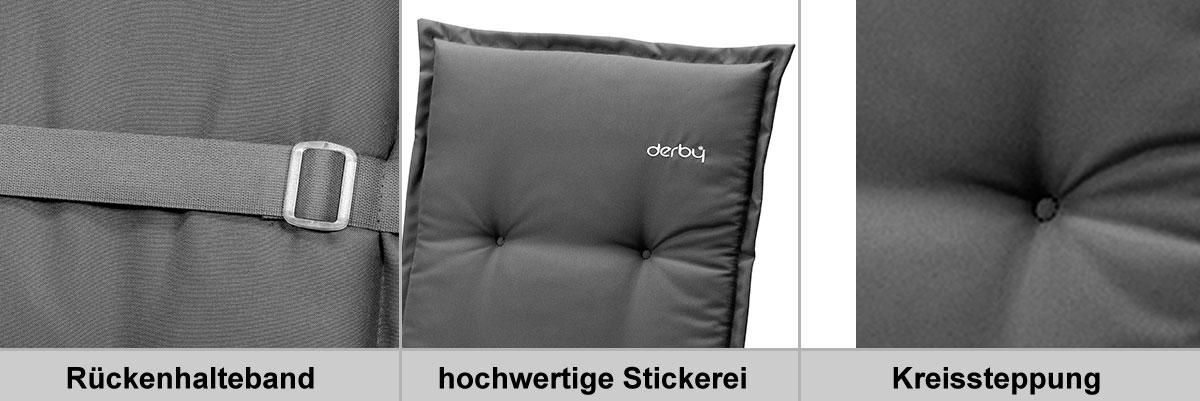 Doppler Polster / Auflage Gartensessel Hochlehner Des. Look 846 greige Bild 2