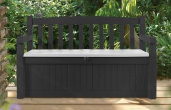 gartenbank truhenbank tepro mit kissenbox anthrazit grau kunststoff bei. Black Bedroom Furniture Sets. Home Design Ideas