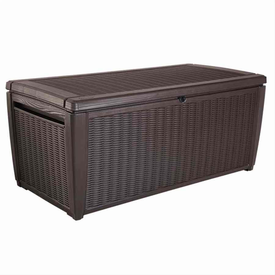 Gartenbox / Auflagenbox Kunststoffgeflecht Sumatra 145x73x64cm mocca Bild 1