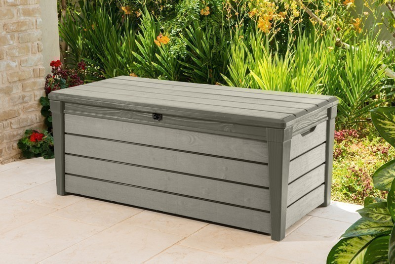 gartenbox kissenbox brushwood keter kunststoff taupe 145x69x60cm bei. Black Bedroom Furniture Sets. Home Design Ideas