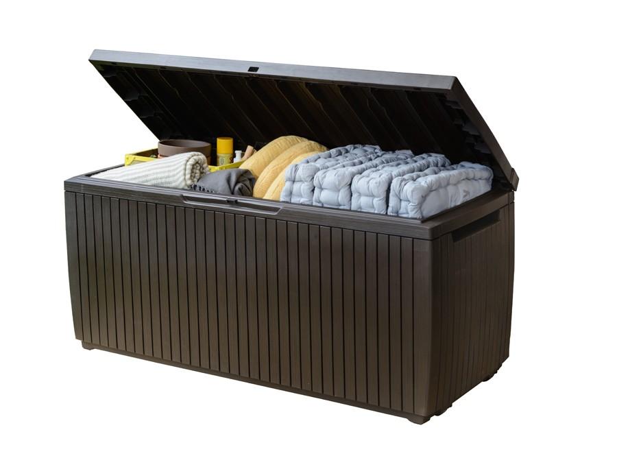 gartenbox kissenbox springwood keter kunststoff braun 123x53 5x57cm bei. Black Bedroom Furniture Sets. Home Design Ideas