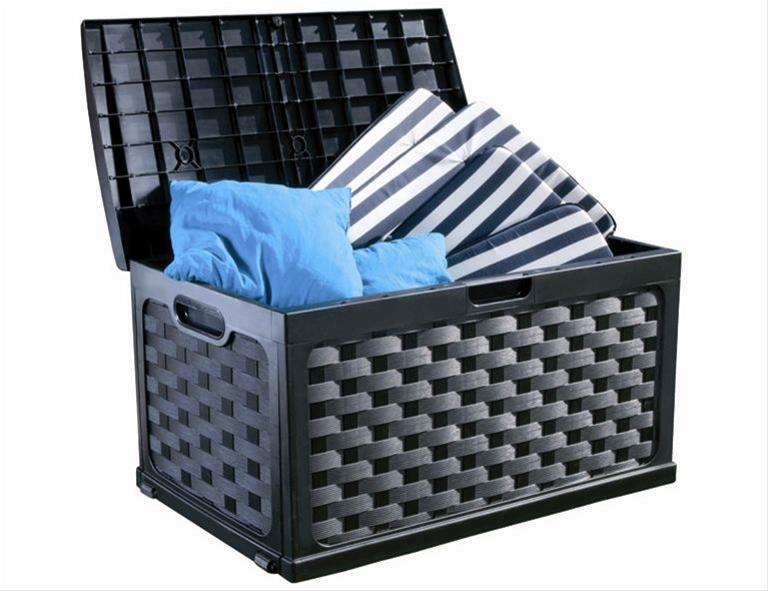 Kissenbox Kunststoff Geflechtoptik schwarz / graphit 115x56cm Bild 2