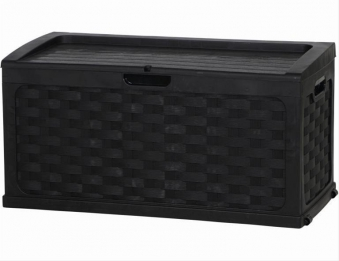 Kissenbox Kunststoff Geflechtoptik schwarz / graphit 115x56cm Bild 1