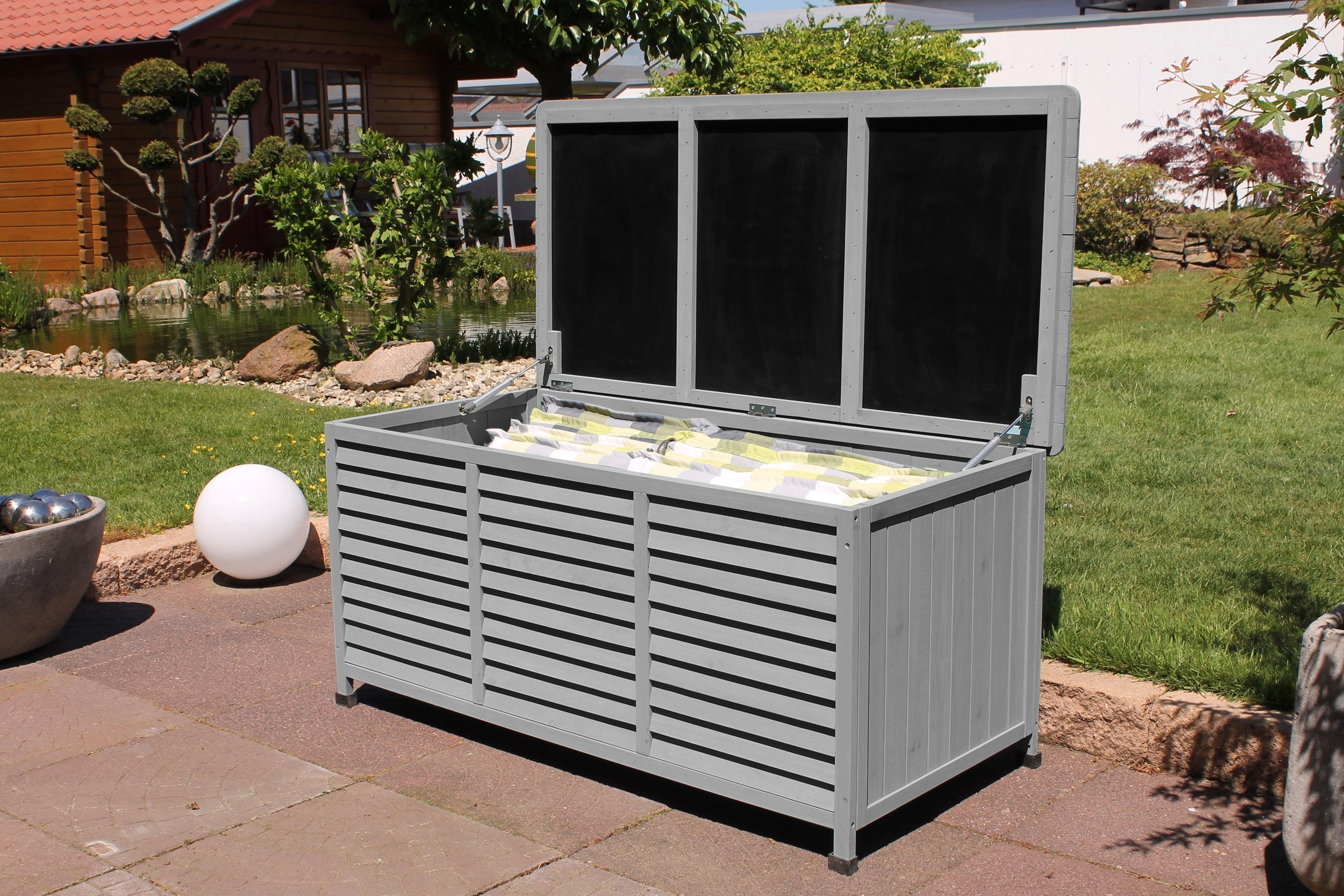 leco auflagenbox kissenbox vintage 130x64x60cm dunkelgrau bei. Black Bedroom Furniture Sets. Home Design Ideas