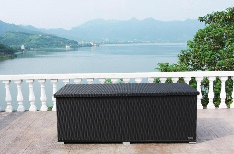 Outflexx Kissenbox  Auflagenbox 1316 Polyrattan schwarz 204x94x75cm