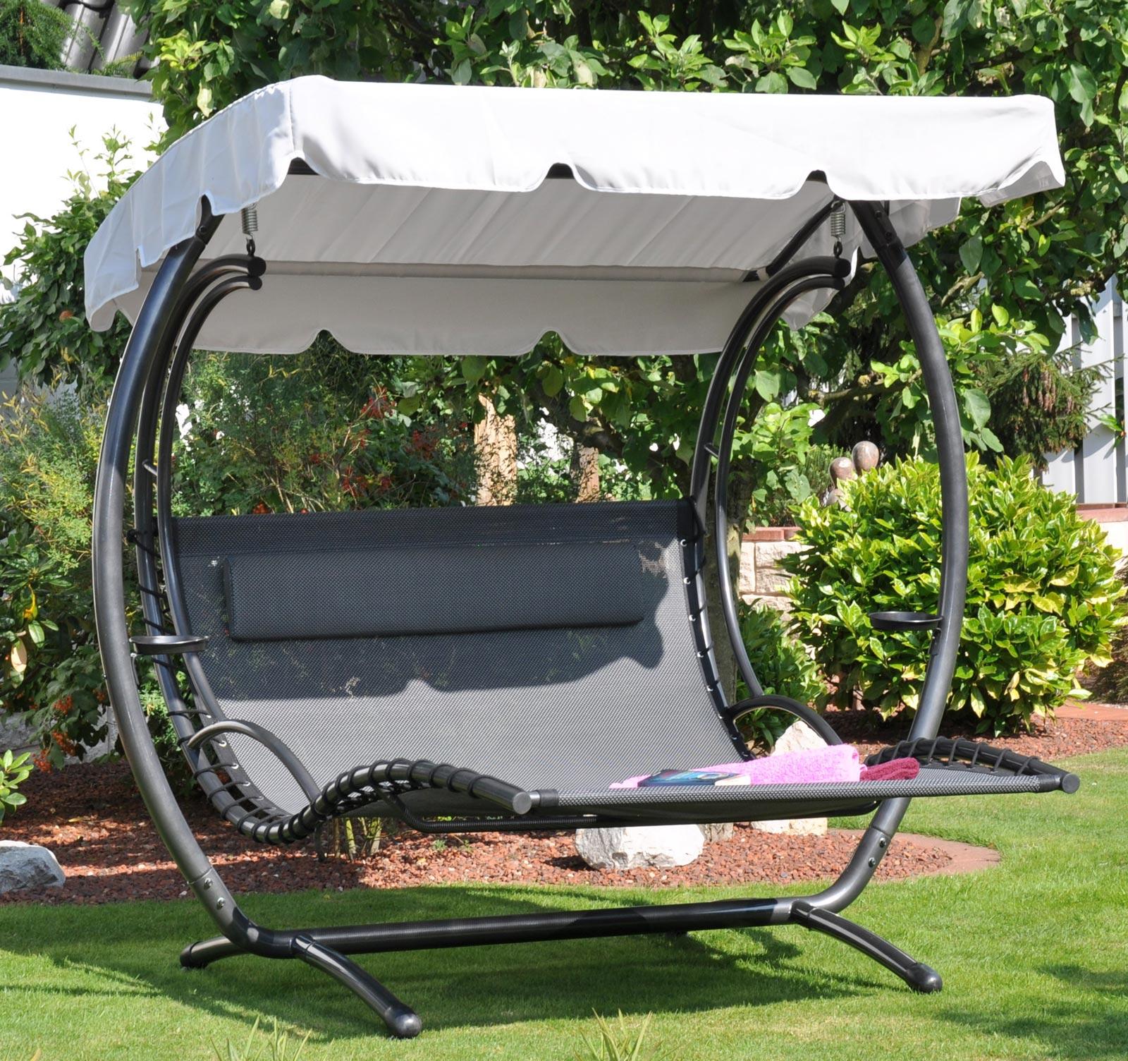 doppel gartenliege duo swing xxl stahl schwarz mit. Black Bedroom Furniture Sets. Home Design Ideas