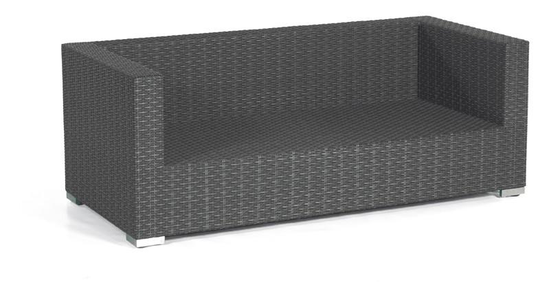 Gartenbank / 2-Sitzer Sofa Korbmöbel Residenz graphit-schwarz Bild 1