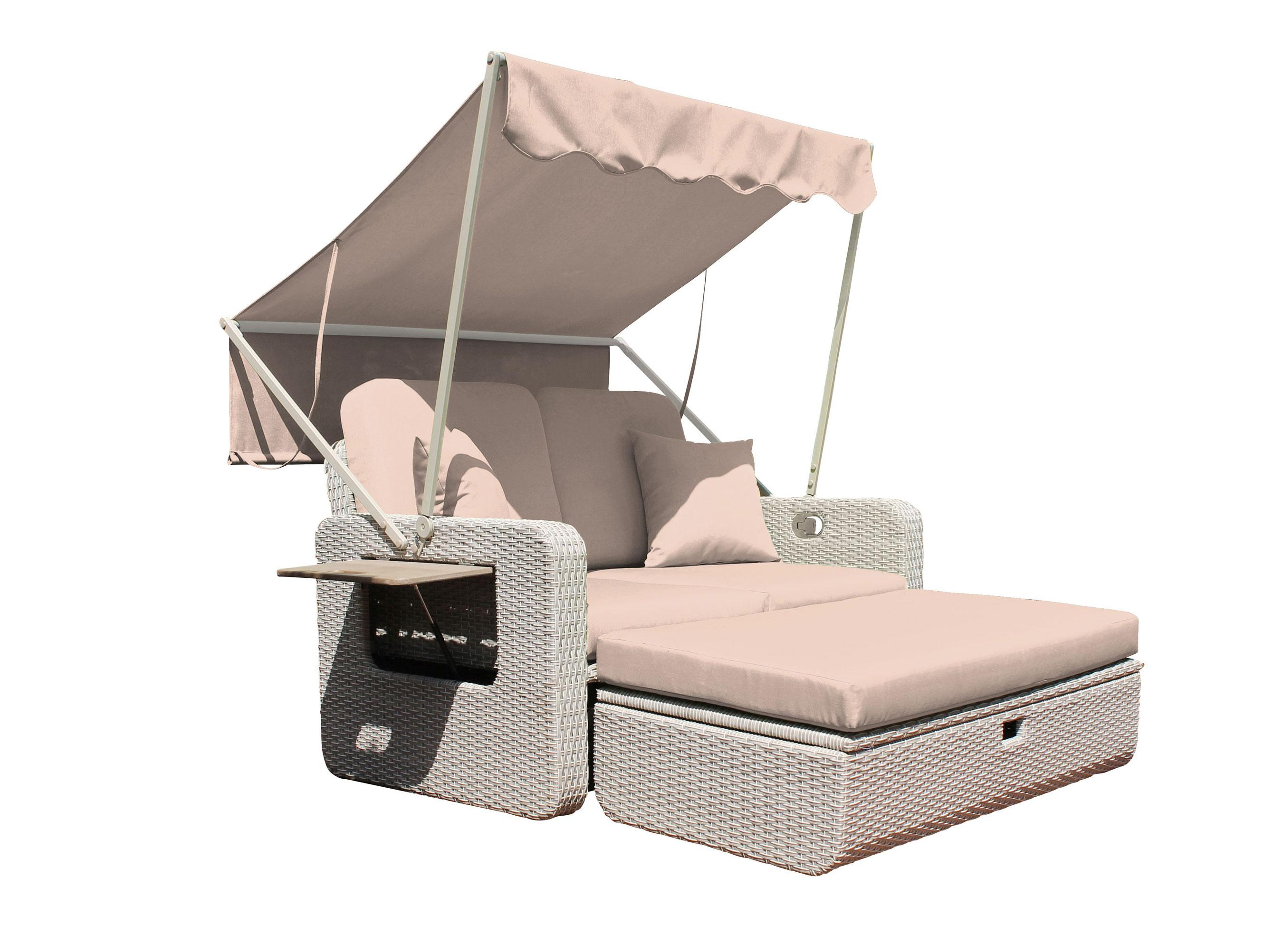 gartenbank 2 sitzer sofa leco wohlf hl rattan 2 sitzer dach taupe bei. Black Bedroom Furniture Sets. Home Design Ideas