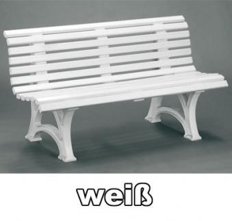 Gartenbank 3 Sitzer Helgoland / Neptun weiß Kunststoff Bild 1