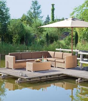 Gartenbank / 3-Sitzer Sofa Korbmöbel Residence Hyazinthoptik Bild 2