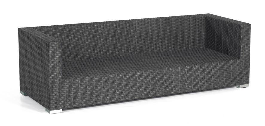 Gartenbank / 3-Sitzer Sofa Korbmöbel Residence graphit-schwarz Bild 1