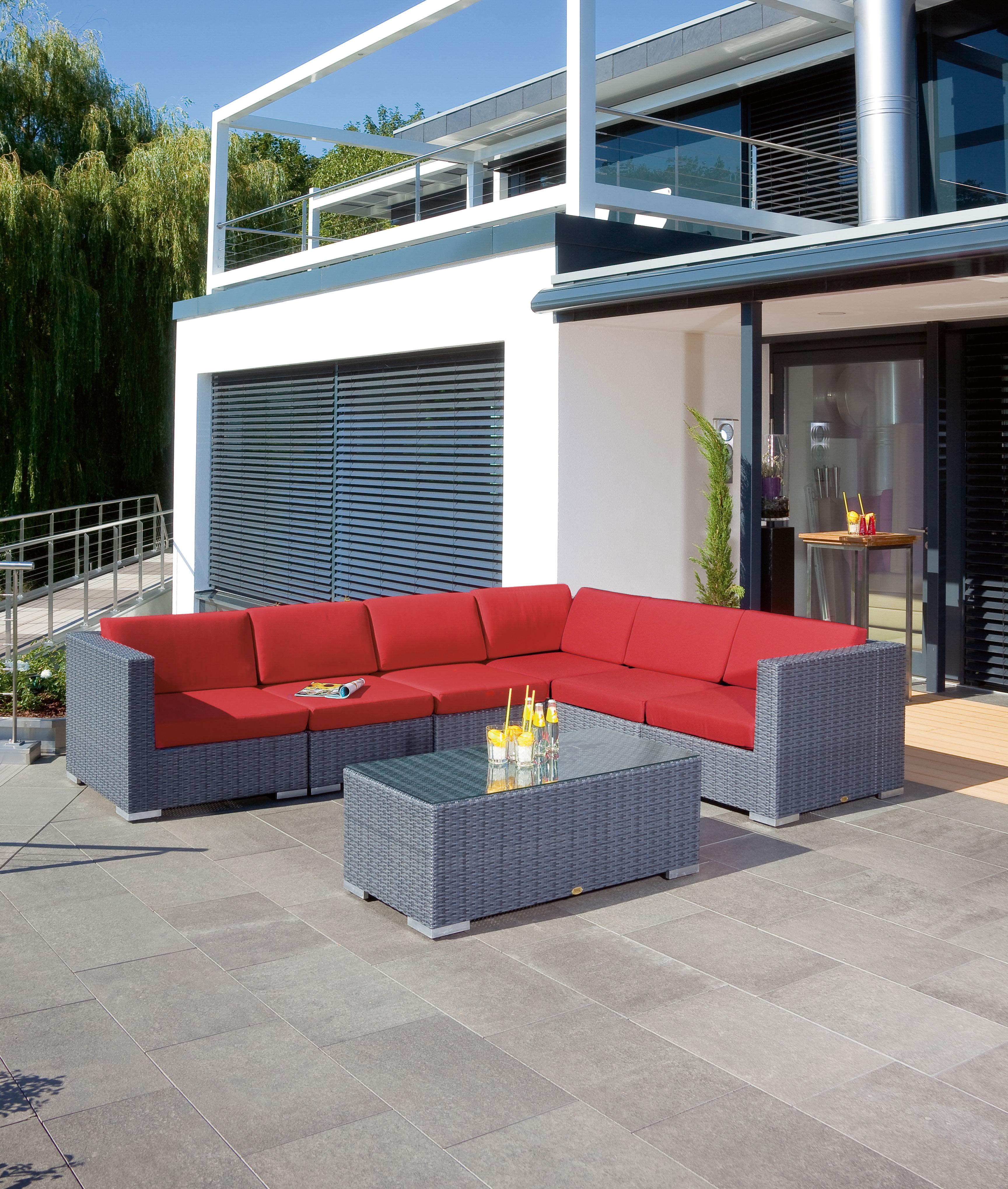 Gartenbank / 3-Sitzer Sofa Korbmöbel Residence graphit-schwarz Bild 2
