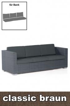 Sonnenpartner Auflage für Gartenbank / Sofa Residence 3Sitz. braun