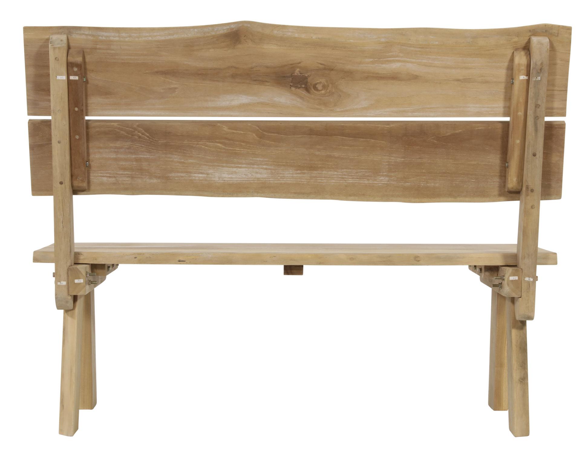 Gartenbank Baumstamm Lesli  Living 2-Sitzer Teakholz 130cm Bild 2