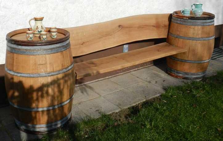 Gartenbank / Fässersitzbank Achleitner aus Eichenholz Länge 170cm Bild 1