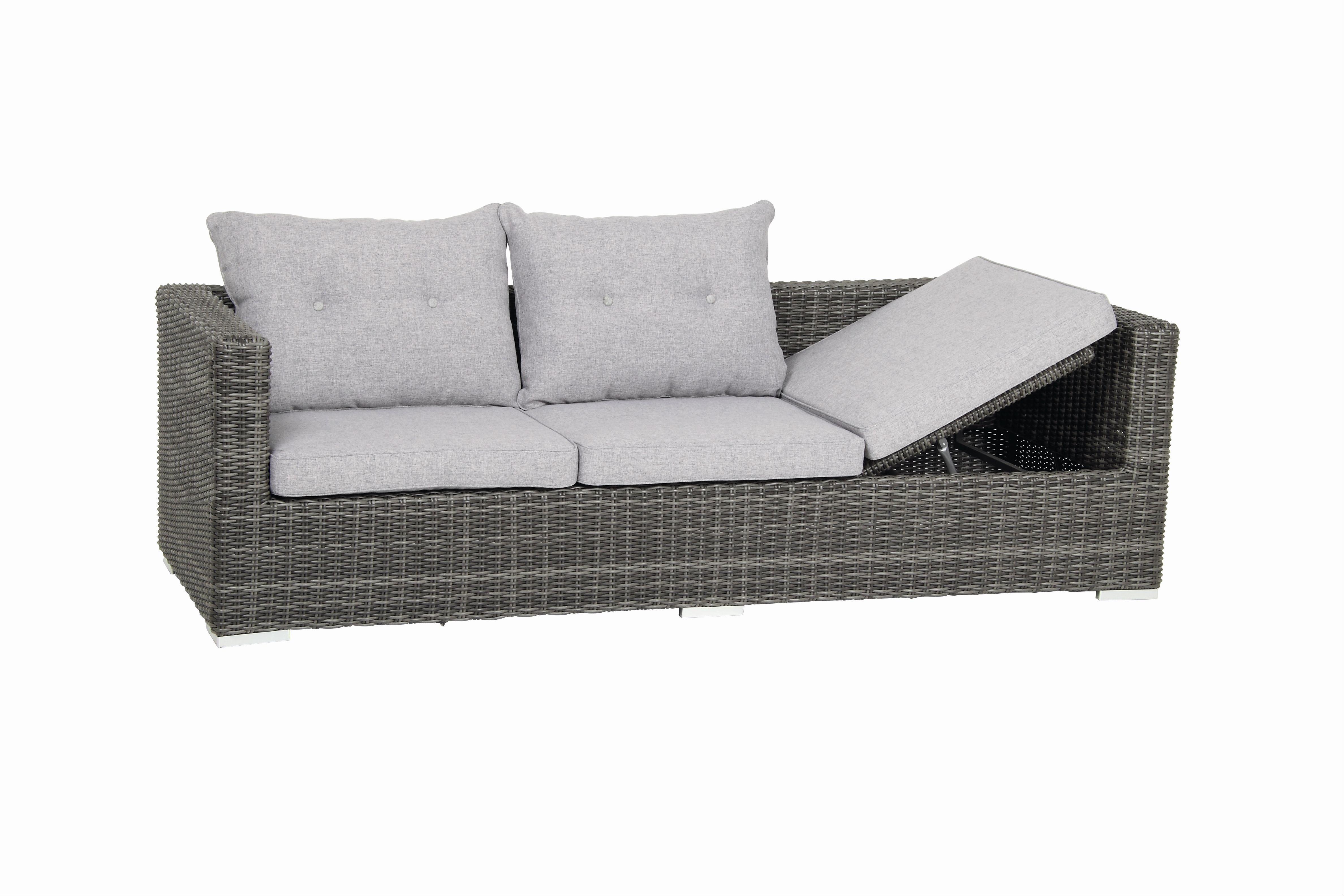 gartenbank gartensofa 3 sitzer acamp sicilia polyrattan grau bei. Black Bedroom Furniture Sets. Home Design Ideas