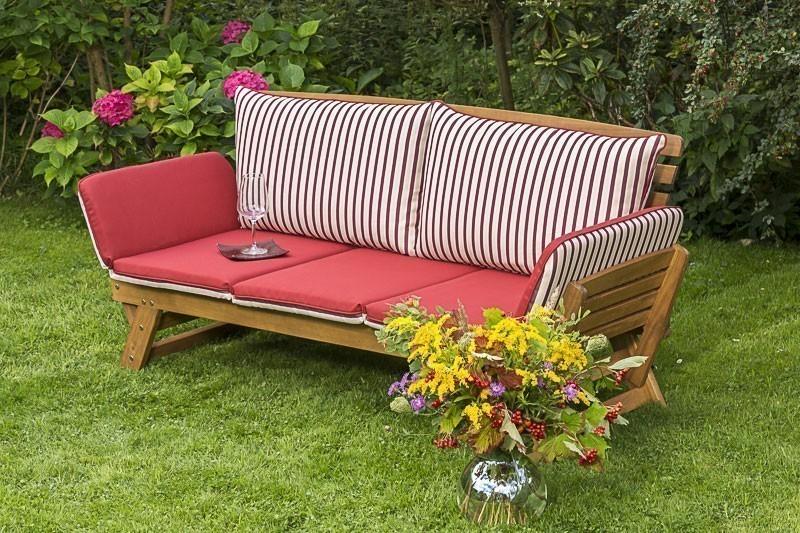 Gartenbank / Sofa / Liegenbank Cancun Akazienholz mit Auflage Bild 1