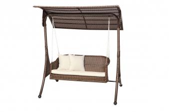 hollywoodschaukel gartenschaukel 2 sitzer polyrattan braun bei. Black Bedroom Furniture Sets. Home Design Ideas