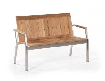 sonnenpartner gartenbank 2 sitzer eclipse edelstahl old teak look bei. Black Bedroom Furniture Sets. Home Design Ideas