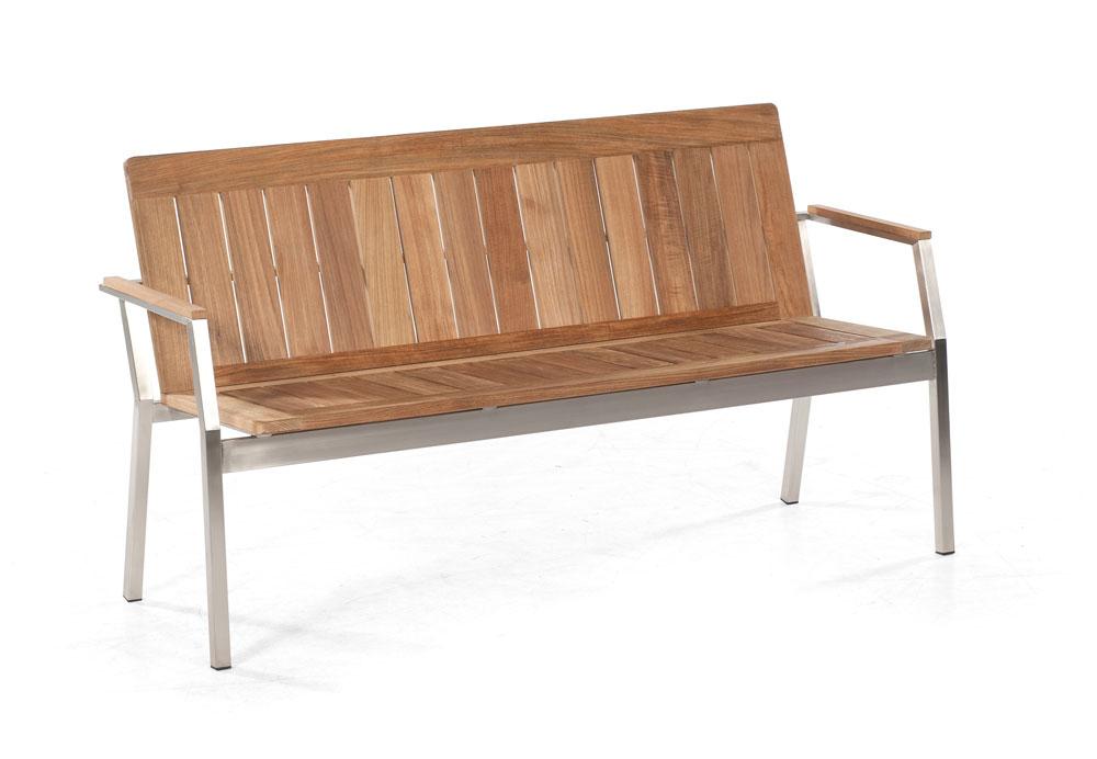 sonnenpartner gartenbank 3 sitzer eclipse edelstahl old teak look bei. Black Bedroom Furniture Sets. Home Design Ideas