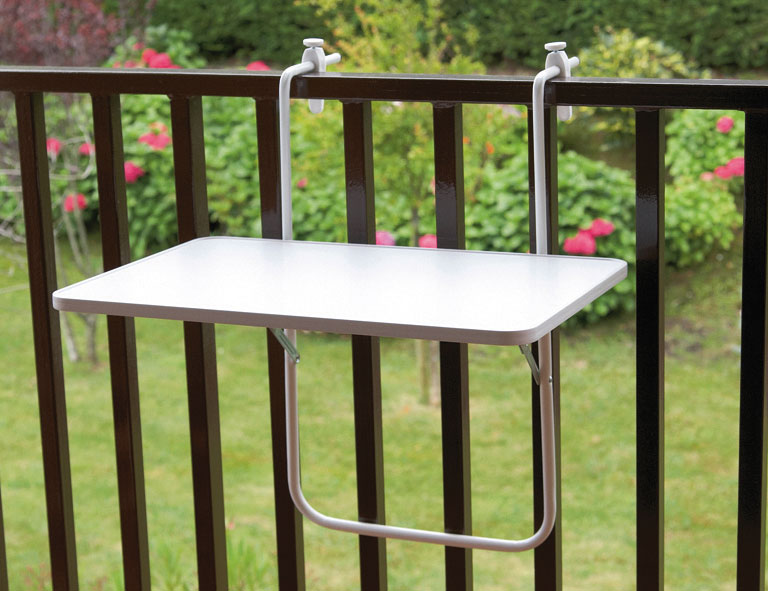 balkontisch h ngetisch rechteckig 60x40cm kunststoff stahl wei bei. Black Bedroom Furniture Sets. Home Design Ideas