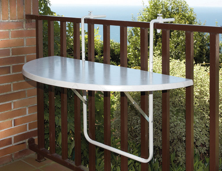 balkontisch h ngetisch halbrund 100x50cm kunststoff stahl wei bei. Black Bedroom Furniture Sets. Home Design Ideas
