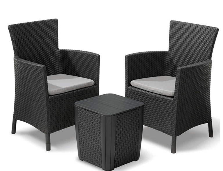 gartenm bel balkonm bel set iowa polyrattan graphit grau bei. Black Bedroom Furniture Sets. Home Design Ideas