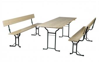 Festzeltgarnitur / Bierzeltgarnitur m. Rückenlehne Rundrohr Tisch 70cm Bild 1