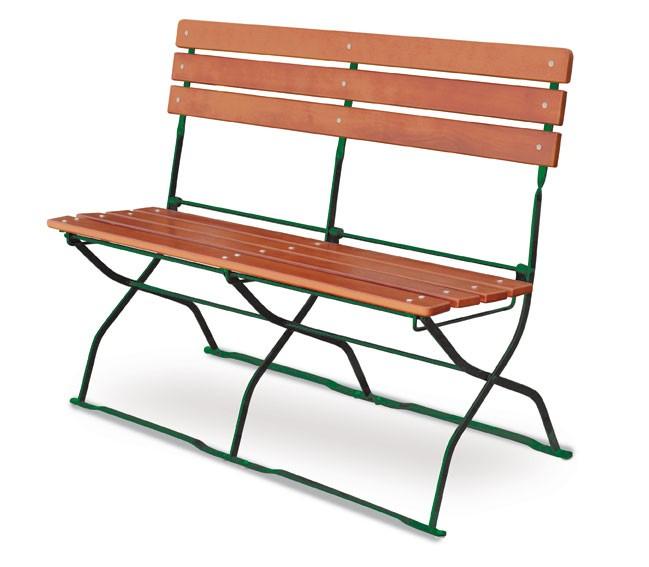Gartenbank / Biergartenbank klappbar Classic 2-Sitzer ocker/grün Bild 1