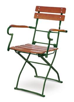 Gartensessel / Biergartenstuhl klappbar Classic ocker/grün Bild 1
