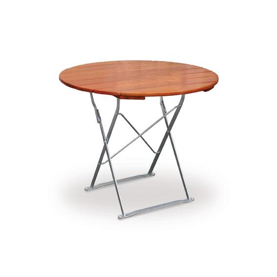 Gartentisch / Biergartentisch klapp Classic rund Ø100cm ocker/verzinkt Bild 1