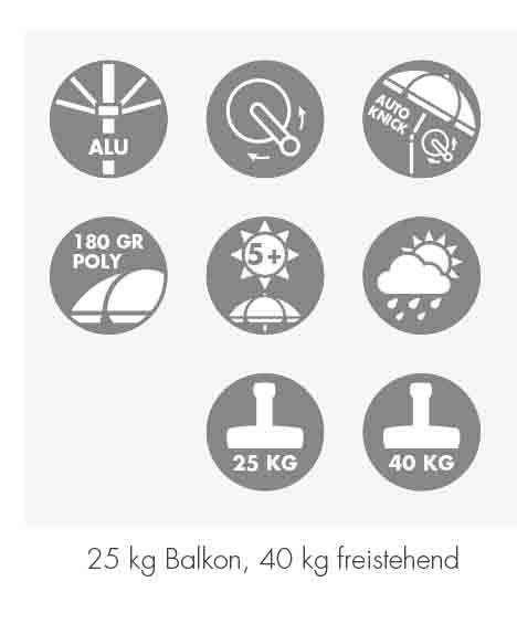 Doppler Sonnenschirm / Kurbelschirm Active auto tilt 210x140cm natur Bild 3