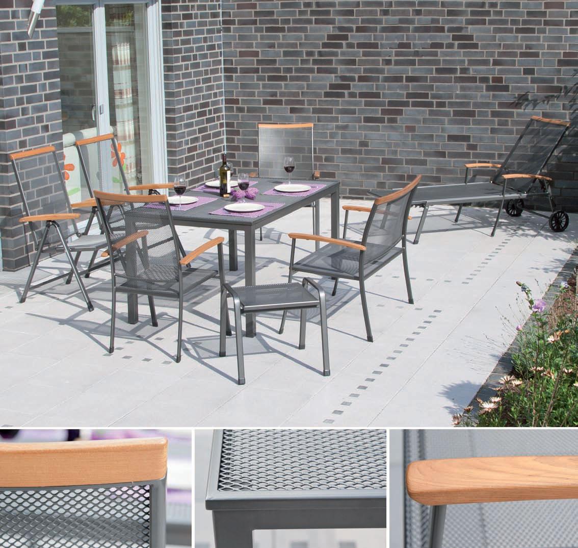 Siena Garden Gartentisch / Lofttisch Streckmetall 160x90cm eisengrau Bild 2