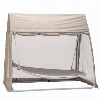 h ngematte mit gestell moskitonetz und dach silber taupe bei. Black Bedroom Furniture Sets. Home Design Ideas