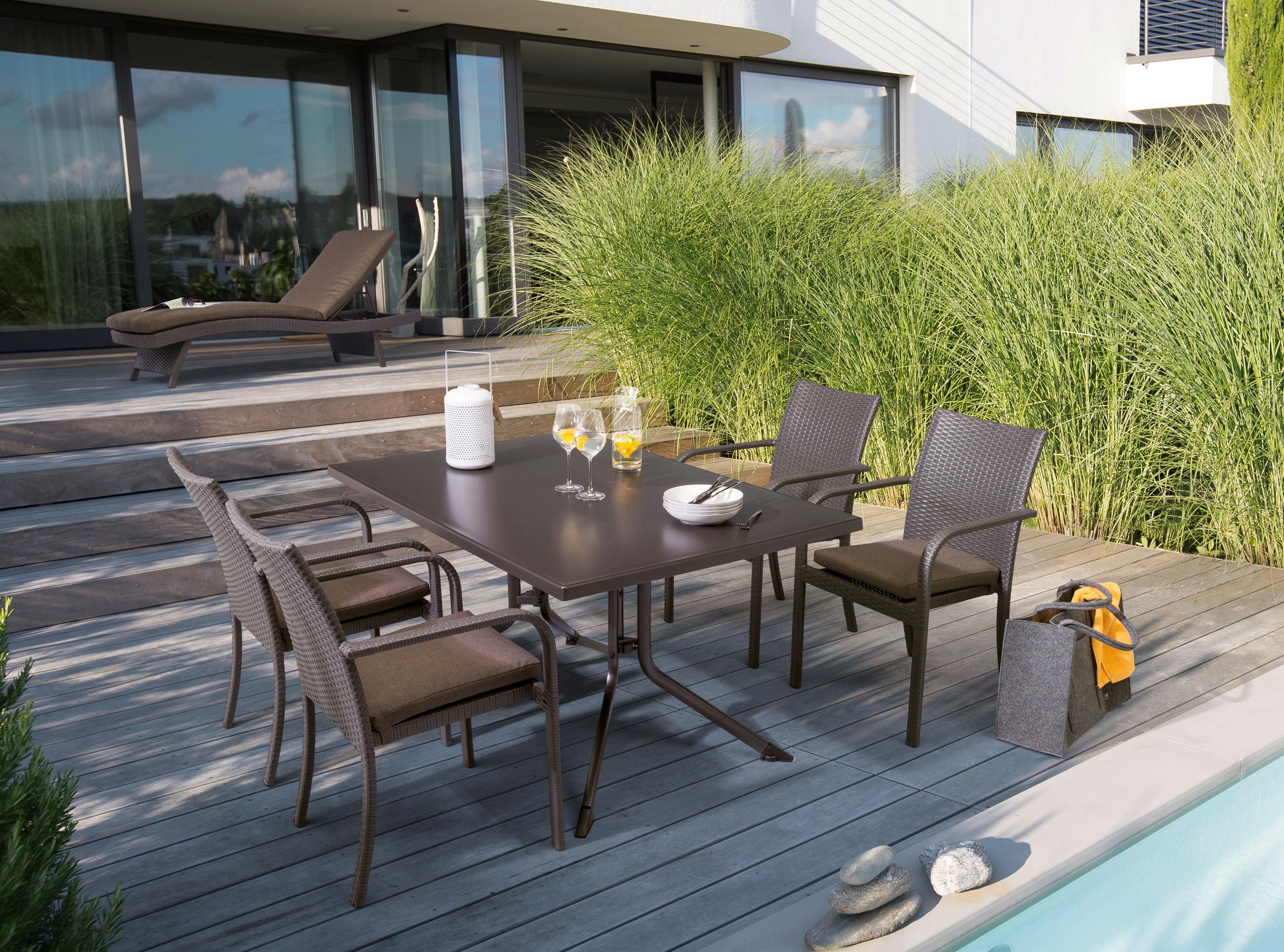 kettler gartenliege bistro 0311714 4610 klappbar polyrattan anthrazit bei. Black Bedroom Furniture Sets. Home Design Ideas