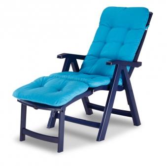 Gartenliege / Deckchair Florida Best Kunststoff blau mit Auflage D1360 Bild 1