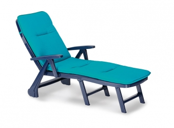 Gartenliege / Rollliege Charleston Best Kunststoff blau +Polster 1360 Bild 1