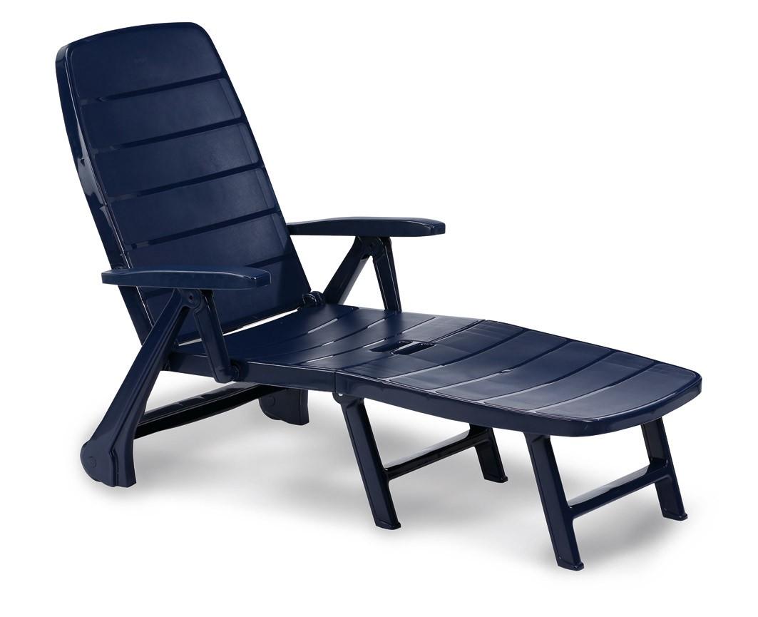 Gartenliege / Rollliege Charleston Kunststoff blau - bei edingershops.de