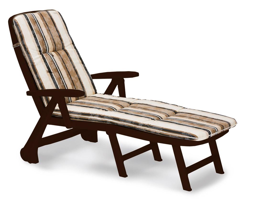 Gartenliege / Rollliege Charleston Best Kunststoff braun +Polster 1017 Bild 1