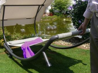Gartenliege / Rollliege Leco Singleliege + Dach anthrazit/ beige Stahl Bild 2