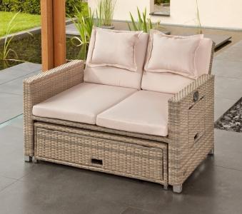 Gartensofa / Lounge Liege Bahia Twin greemotion Polyrattan grau Bild 3