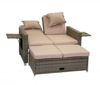 Gartensofa / Lounge Liege Bahia Twin greemotion Polyrattan grau Bild 4