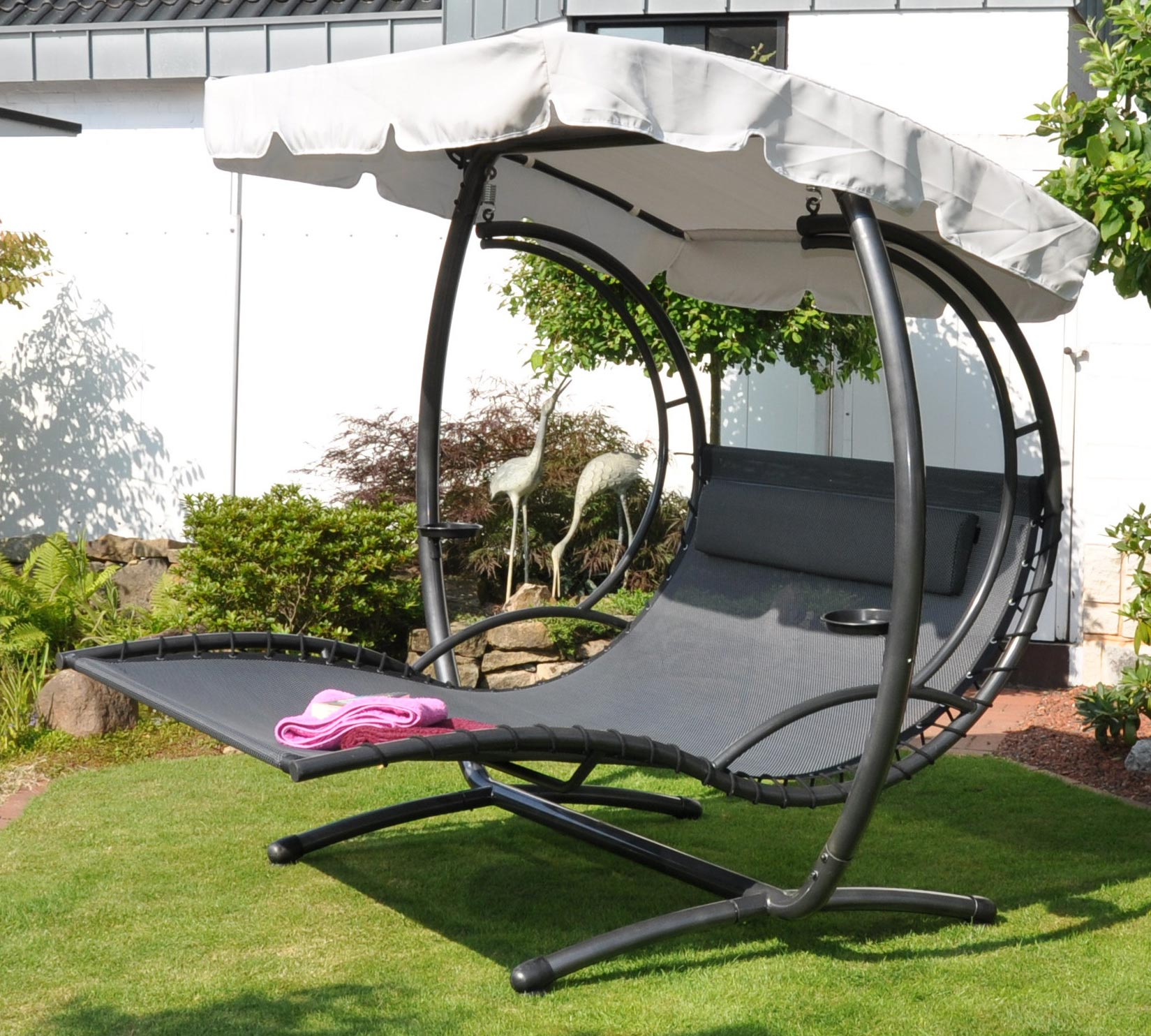 doppel gartenliege duo swing xxl stahl schwarz mit sonnendach bei. Black Bedroom Furniture Sets. Home Design Ideas