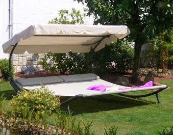 Leco Gartenliege / Doppelliege mit Dach anthrazit/beige Stahl Bild 1