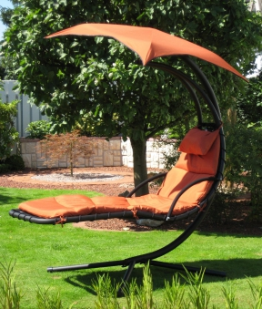 Leco Gartenliege / Schwingliege Stahl Polster / Sonnensegel terracotta Bild 1