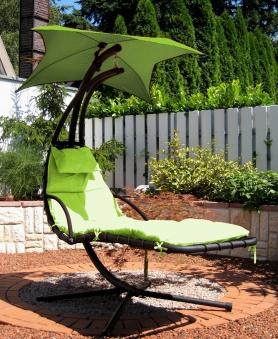 Leco Gartenliege / Schwingliege Stahl mit Polster und Sonnensegel grün Bild 1